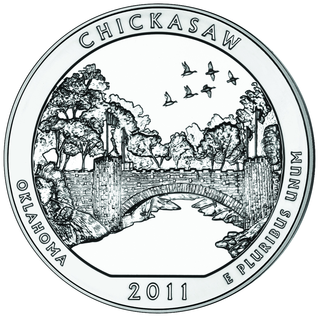 2011 America The Beautiful Quarters Five Ounce Silver Uncirculated Coin Chickasaw Oklahoma Reverse