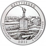 2011 America The Beautiful Quarters Five Ounce Silver Uncirculated Coin Gettysburg Pennsylvania Reverse