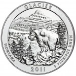 2011 America The Beautiful Quarters Five Ounce Silver Uncirculated Coin Glacier Wyoming Reverse