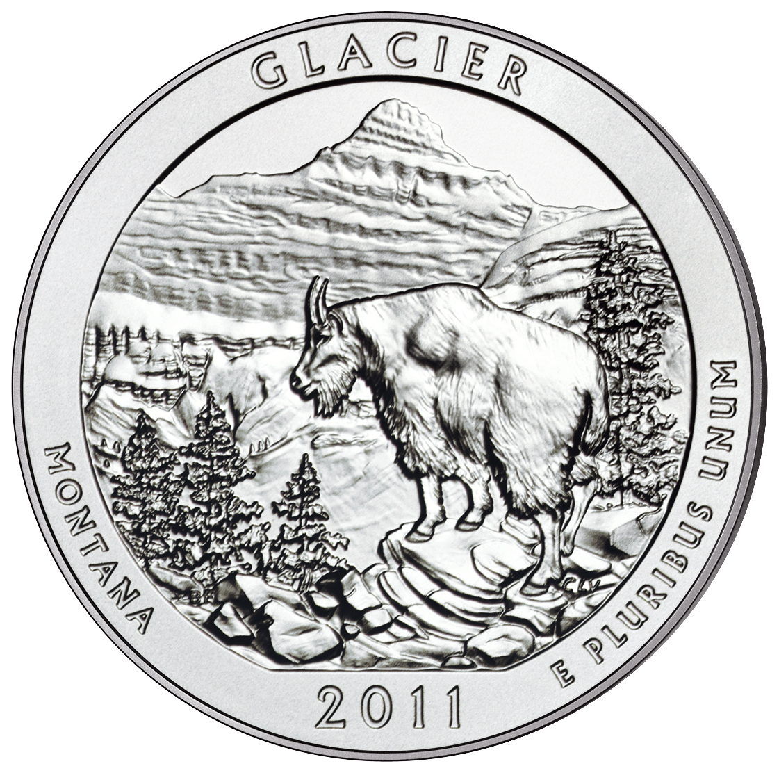 2011 America The Beautiful Quarters Five Ounce Silver Uncirculated Coin Glacier Montana Reverse
