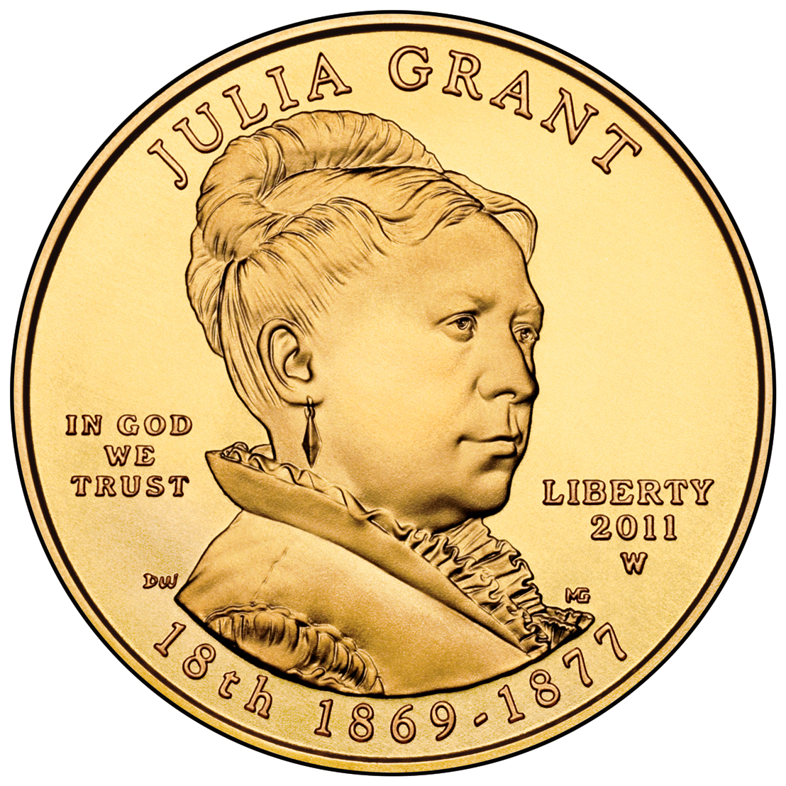 2011 First Spouse Gold Coin Julia Grant Uncirculated Obverse