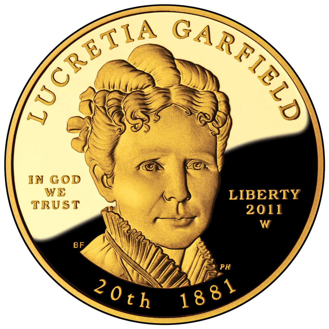 2011 First Spouse Gold Coin Lucretia Garfield Proof Obverse
