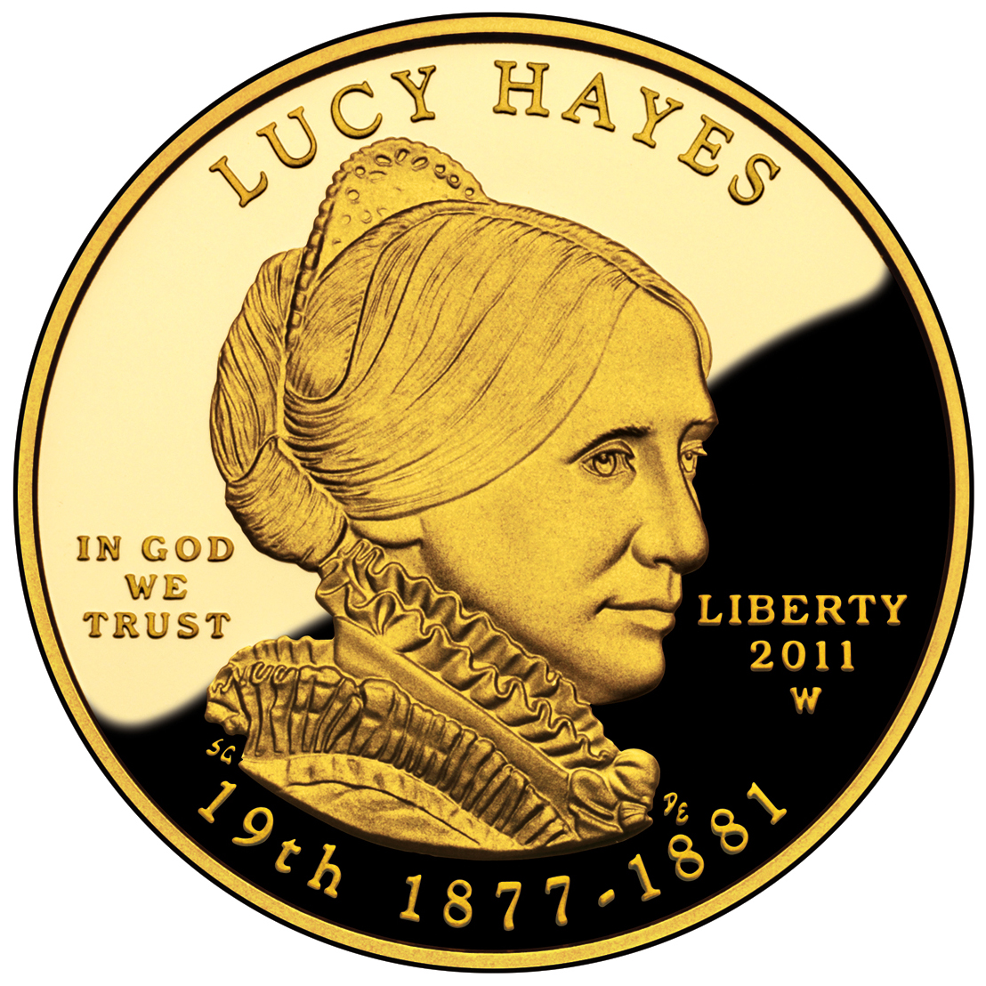 2011 First Spouse Gold Coin Lucy Hayes Proof Obverse