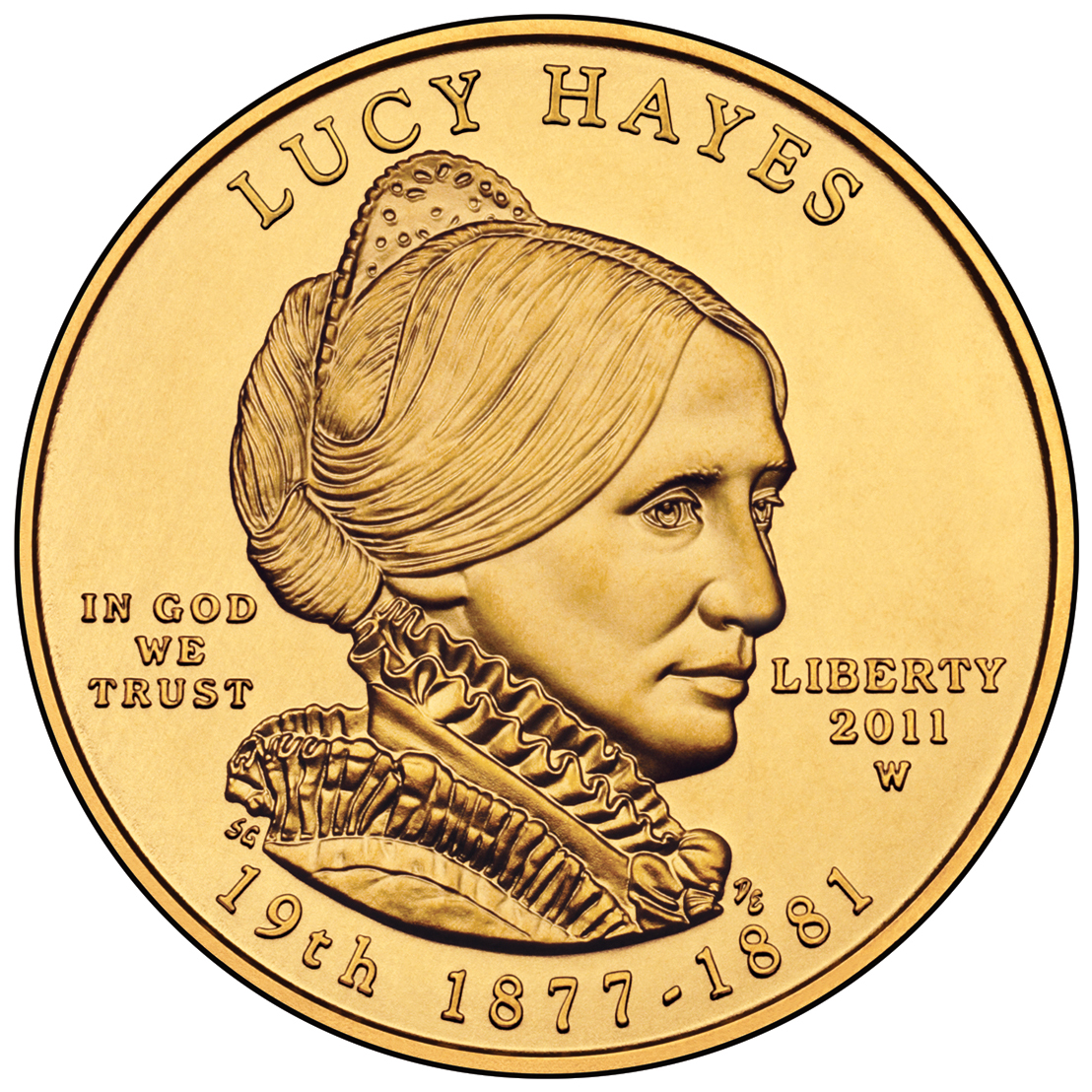 2011 First Spouse Gold Coin Lucy Hayes Uncirculated Obverse