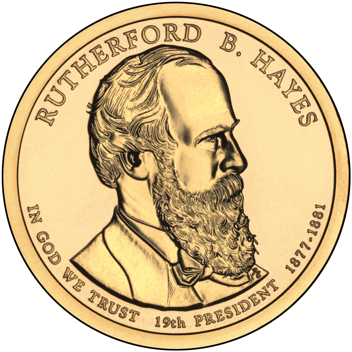 2011 Presidential Dollar Coin Rutherford B. Hayes Uncirculated Obverse