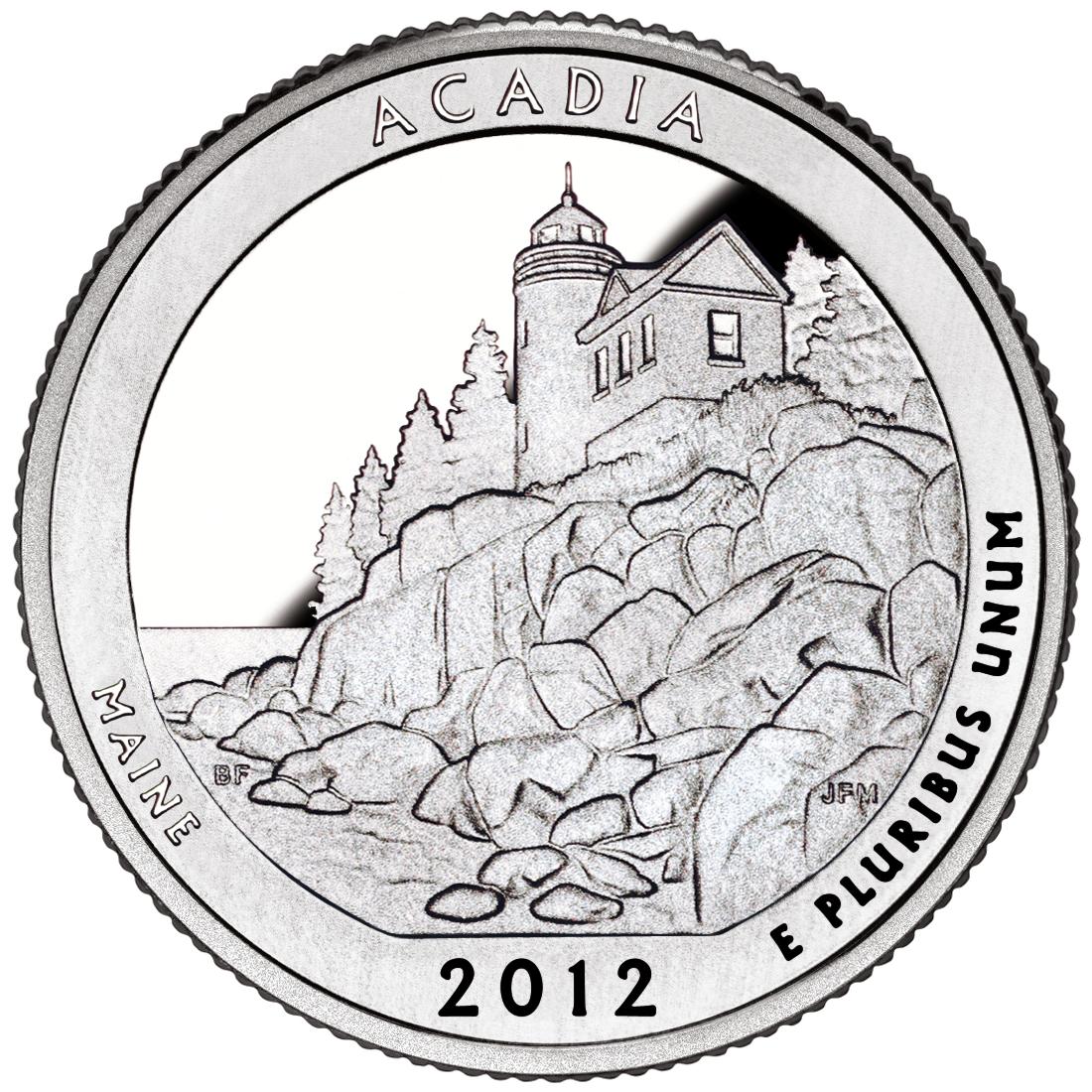 2012 America The Beautiful Quarters Coin Acadia Maine Proof Reverse