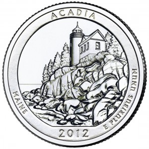 2012 America The Beautiful Quarters Coin Acadia Maine Uncirculated Reverse