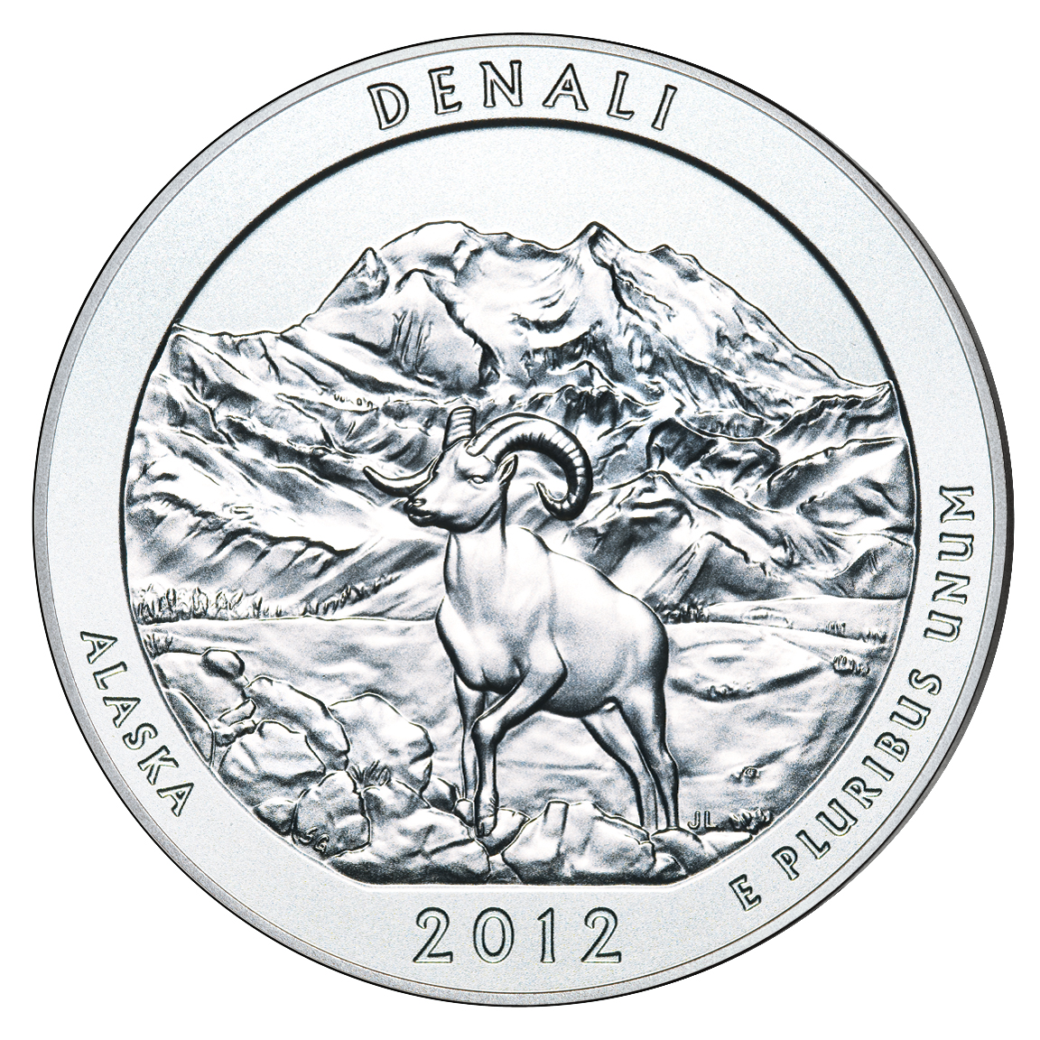 2012 America The Beautiful Quarters Five Ounce Silver Uncirculated Coin Denali Alaska Reverse