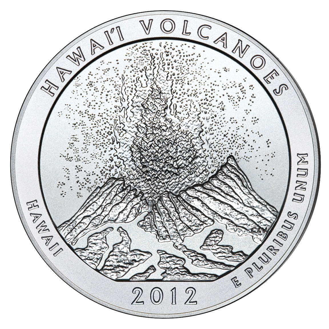 2012 America The Beautiful Quarters Five Ounce Silver Uncirculated Coin Hawaii Volcanoes Reverse