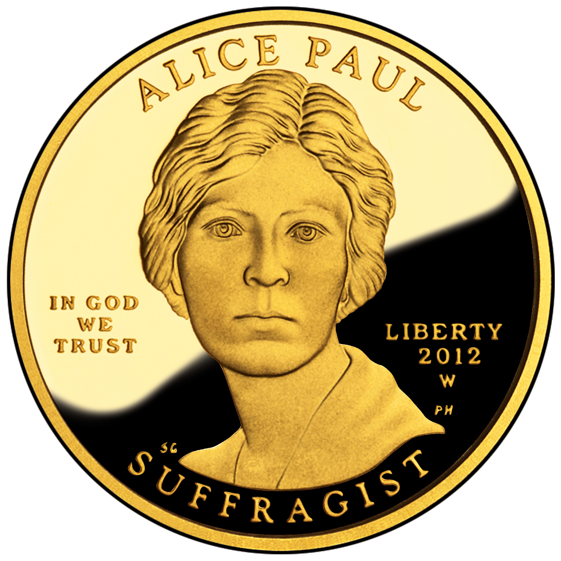 2012 First Spouse Gold Coin Alice Paul Suffragette Proof Obverse