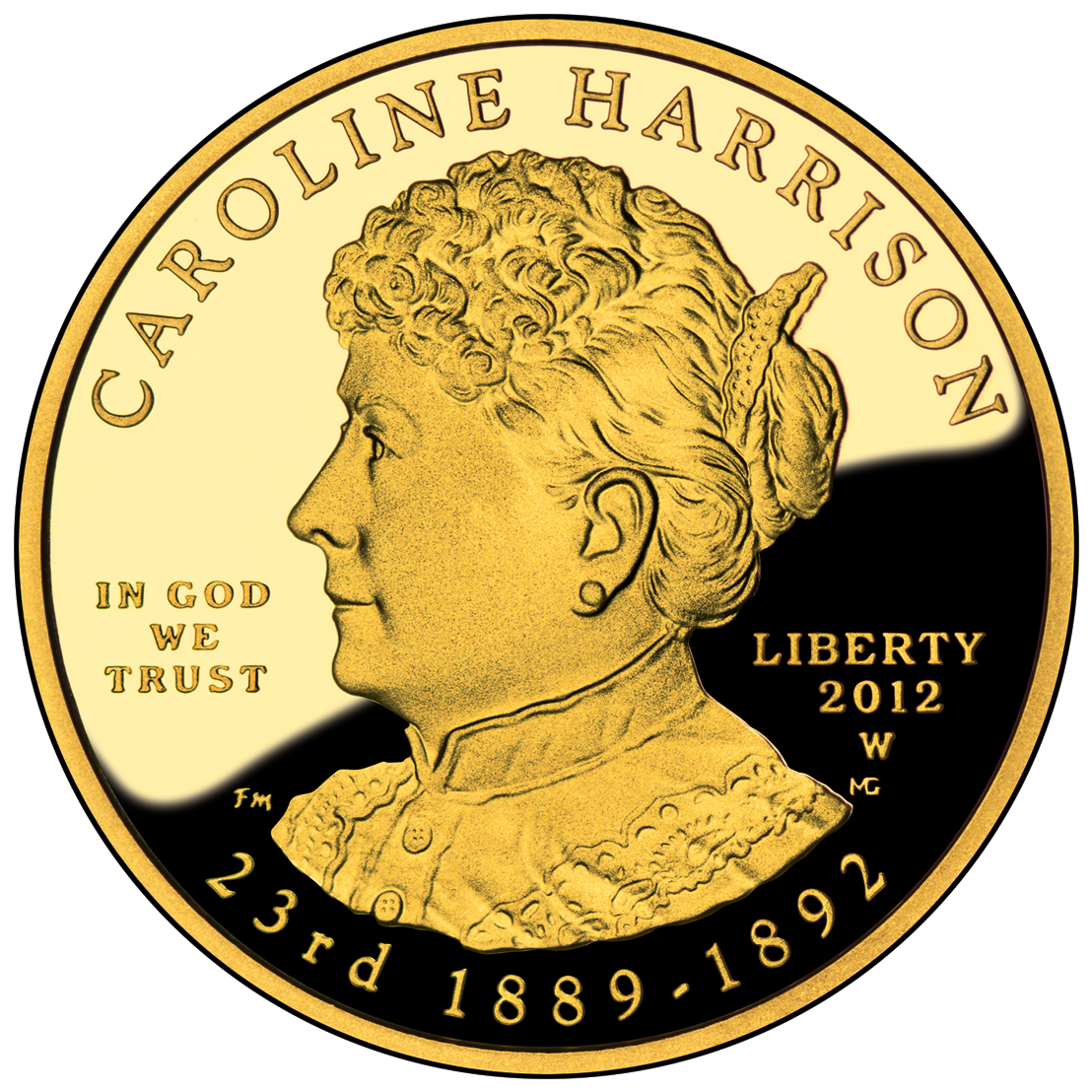 2012 First Spouse Gold Coin Caroline Harrison Proof Obverse