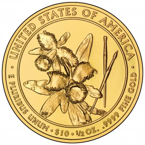 2012 First Spouse Gold Coin Caroline Harrison Uncirculated Reverse