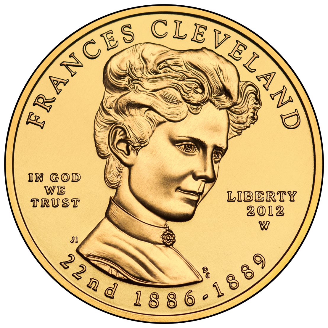 2012 First Spouse Gold Coin Frances Cleveland First Term Uncirculated Obverse