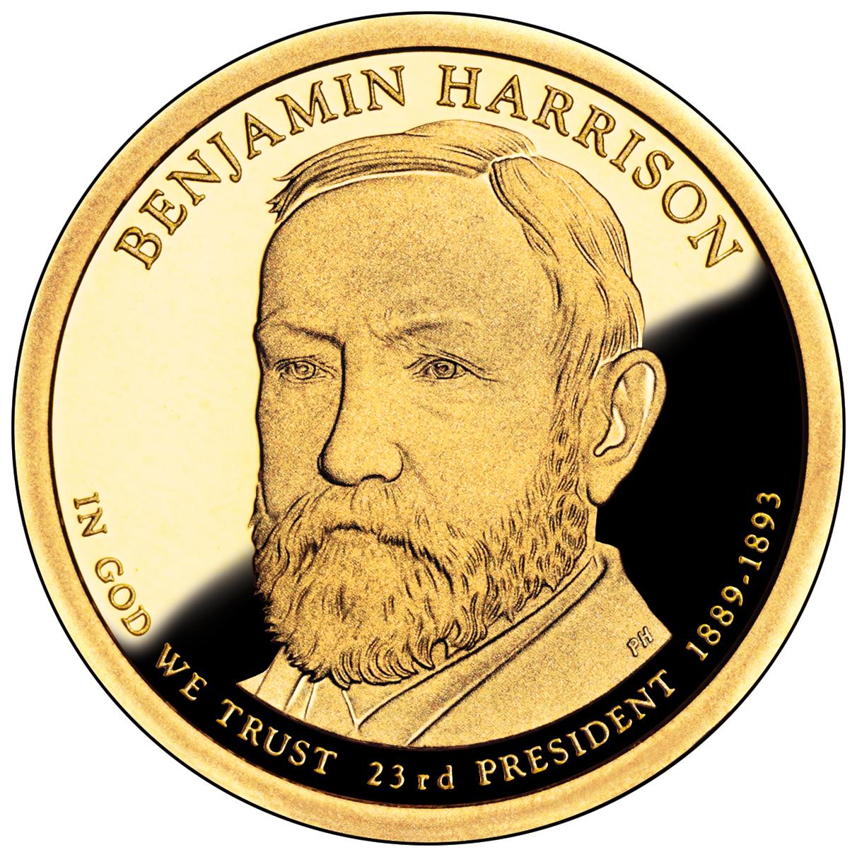 2012 Presidential Dollar Coin Benjamin Harrison Proof Obverse