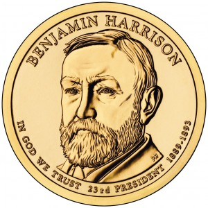 2012 Presidential Dollar Coin Benjamin Harrison Uncirculated Obverse
