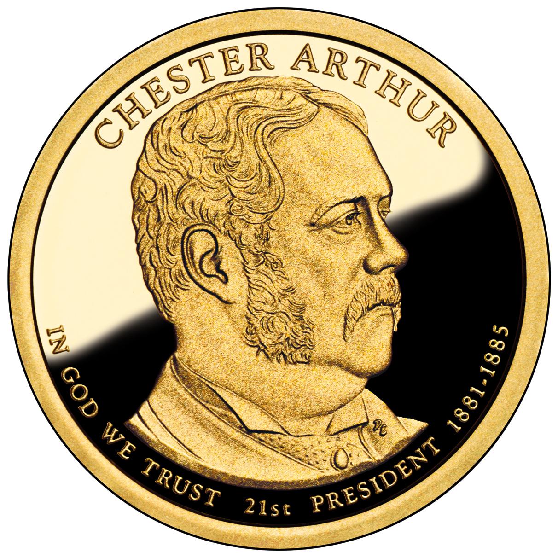 2012 Presidential Dollar Coin Chester Arthur Proof Obverse