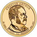 2012 Presidential Dollar Coin Chester Arthur Uncirculated Obverse
