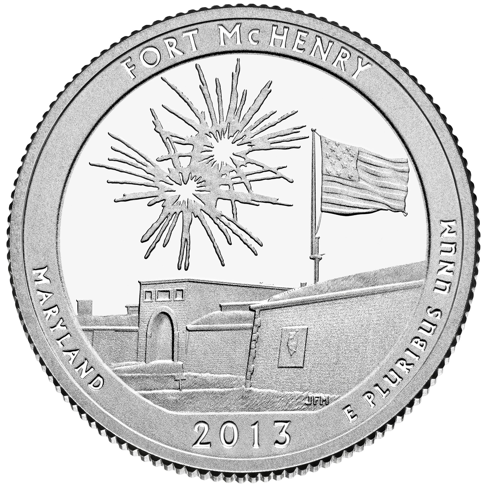 2013 America The Beautiful Quarters Coin Fort Mchenry Maryland Proof Reverse