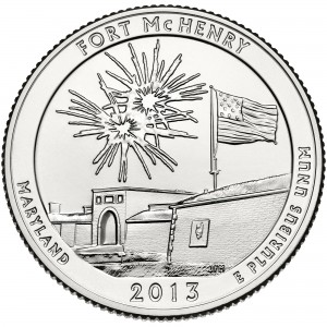 2013 America The Beautiful Quarters Coin Fort Mchenry Maryland Uncirculated Reverse