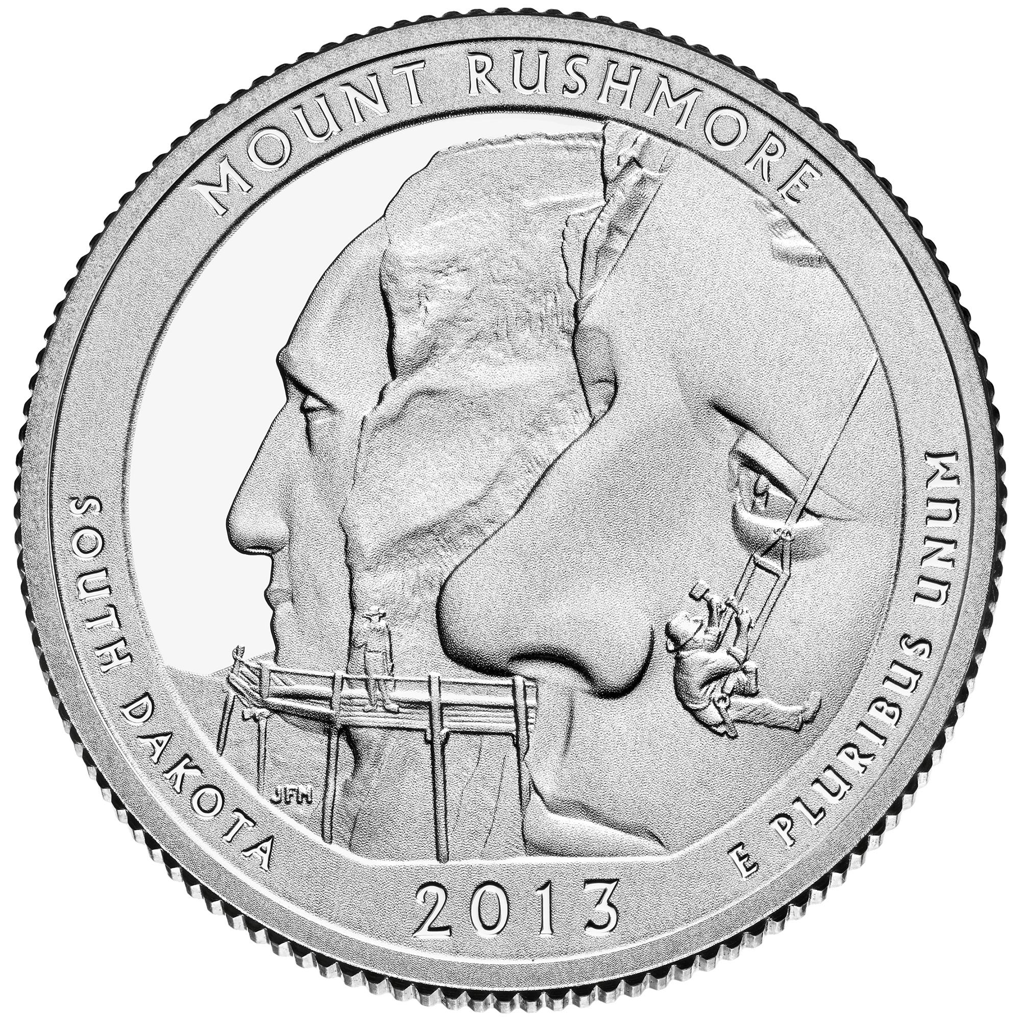 2013 America The Beautiful Quarters Coin Mount Rushmore South Dakota Proof Reverse