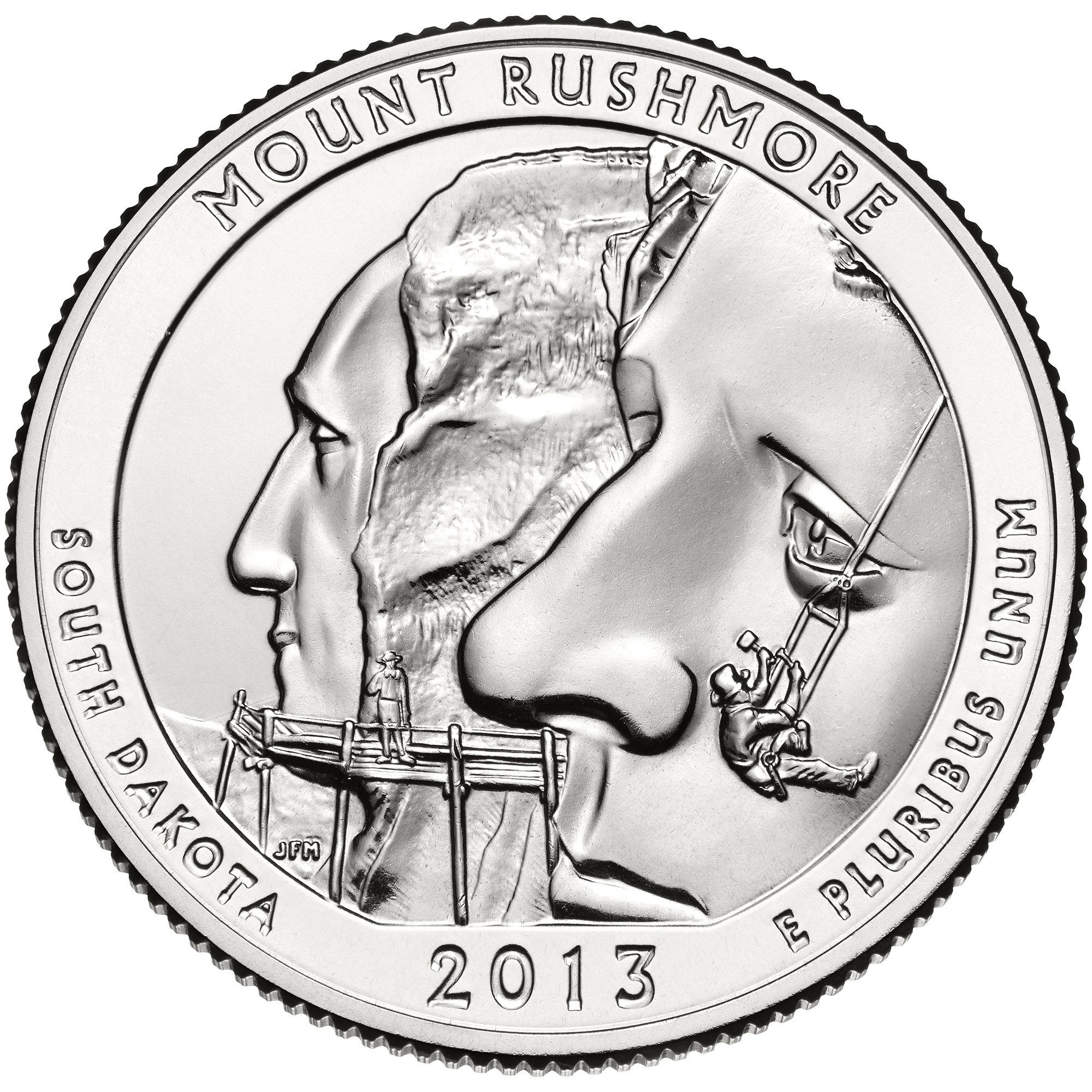 2013 Mount Rushmore South Dakota Quarter reverse sculpt