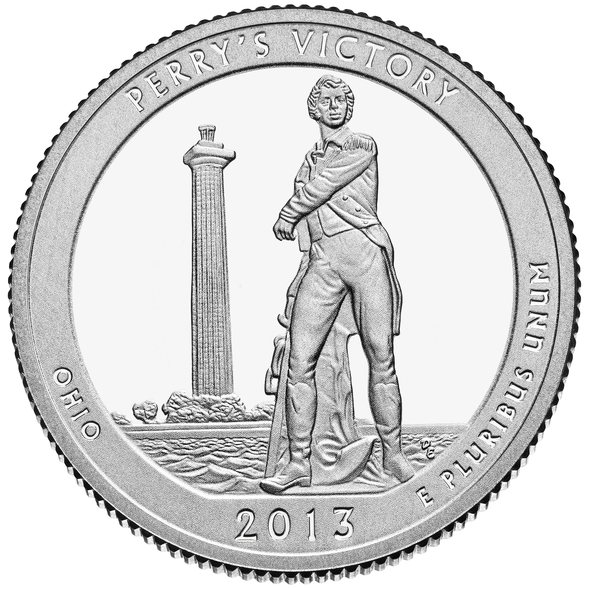 2013 America The Beautiful Quarters Coin Perrys Victory Ohio Proof Reverse