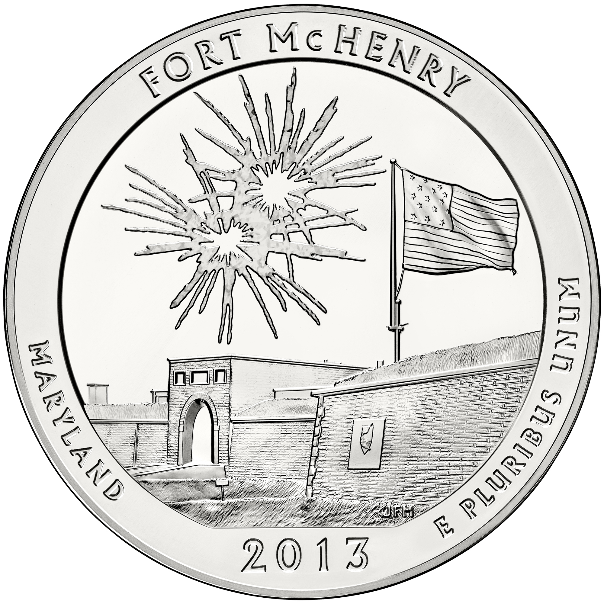 2013 America The Beautiful Quarters Five Ounce Silver Bullion Coin Fort Mchenry Maryland Reverse