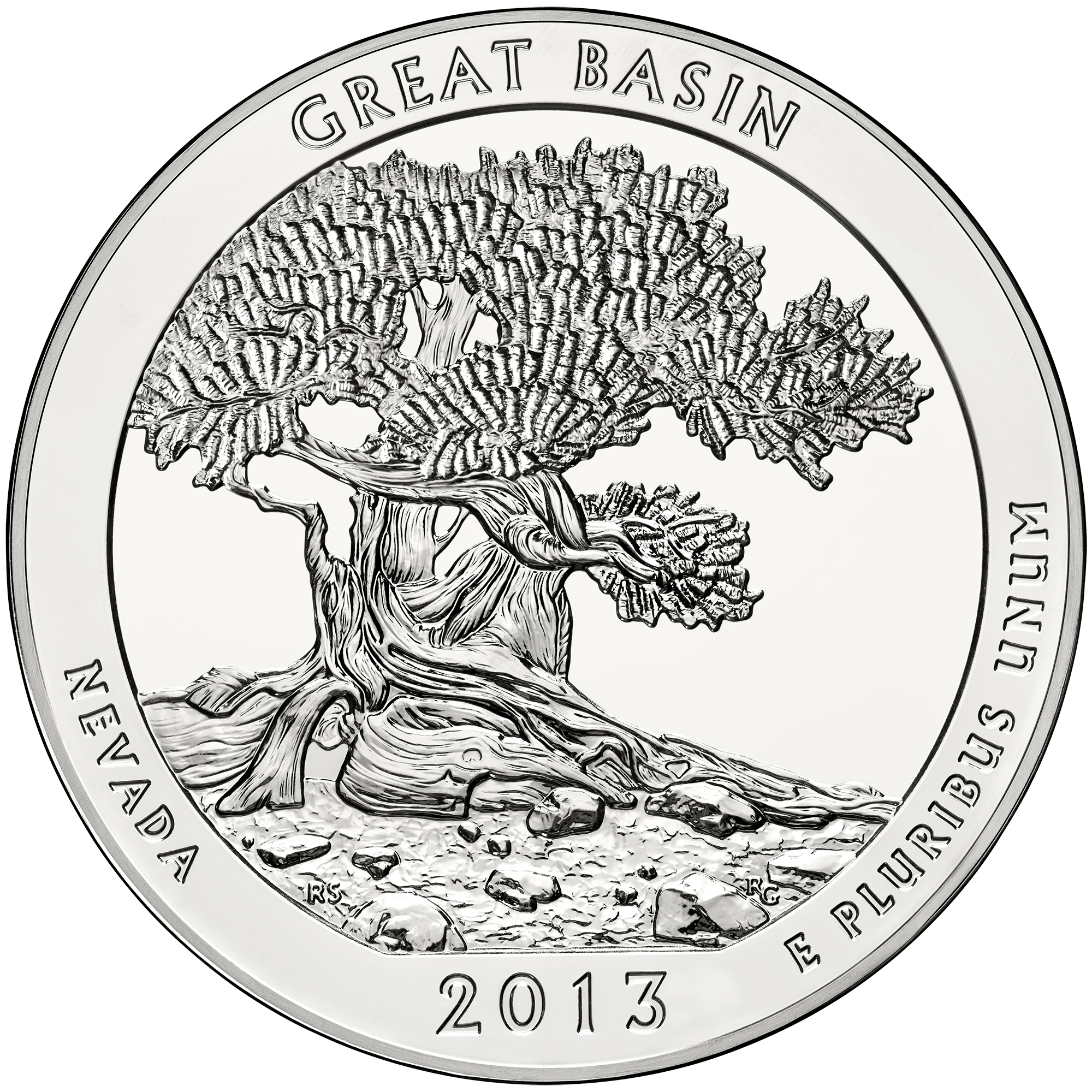 2013 America The Beautiful Quarters Five Ounce Silver Bullion Coin Great Basin Nevada Reverse