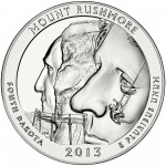 2013 America The Beautiful Quarters Five Ounce Silver Bullion Coin Mount Rushmore South Dakota Reverse
