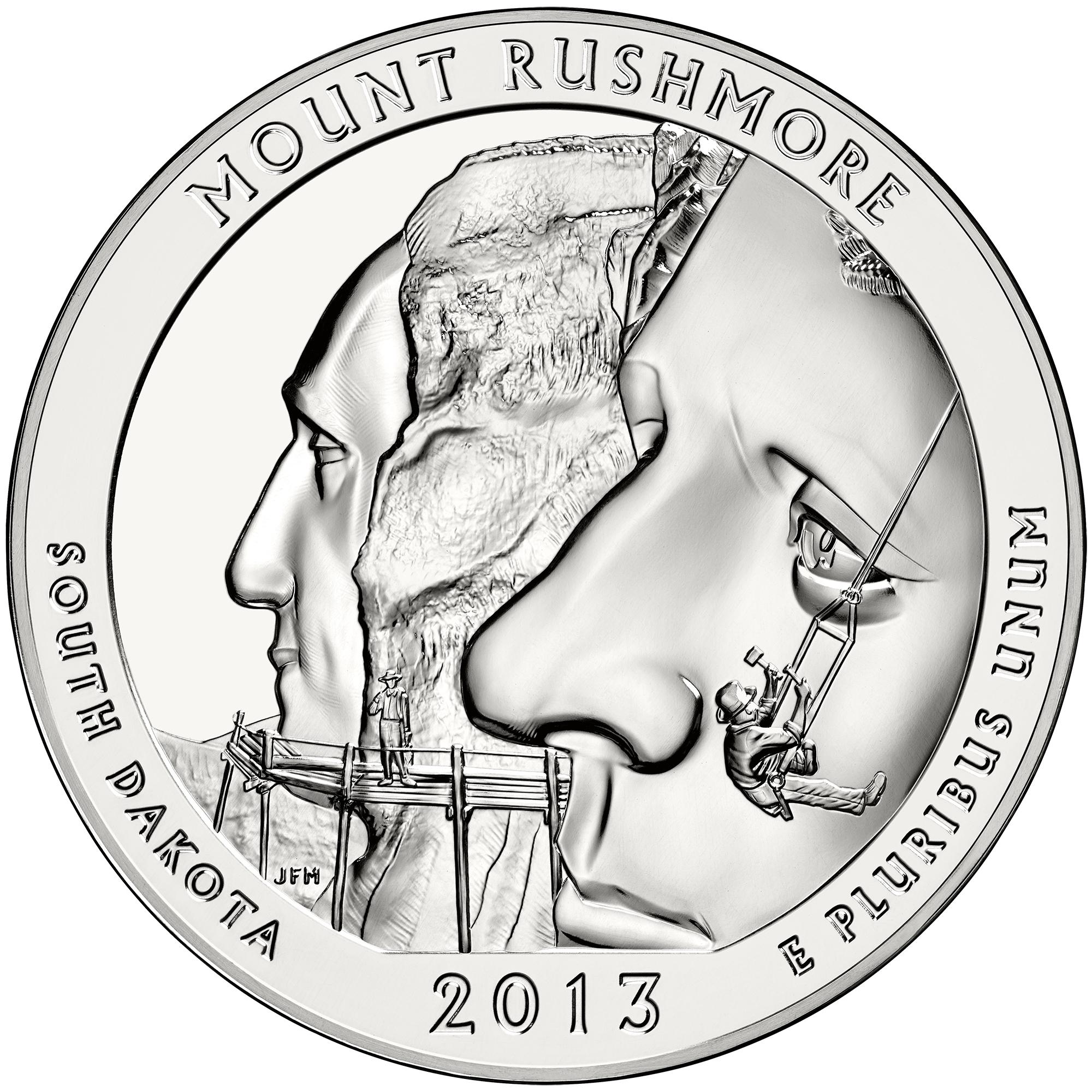 2013 America The Beautiful Quarters Five Ounce Silver Bullion Coin Mount Rushmore South Dakota Reverse