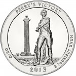 2013 America The Beautiful Quarters Five Ounce Silver Bullion Coin Perrys Victory Ohio Reverse