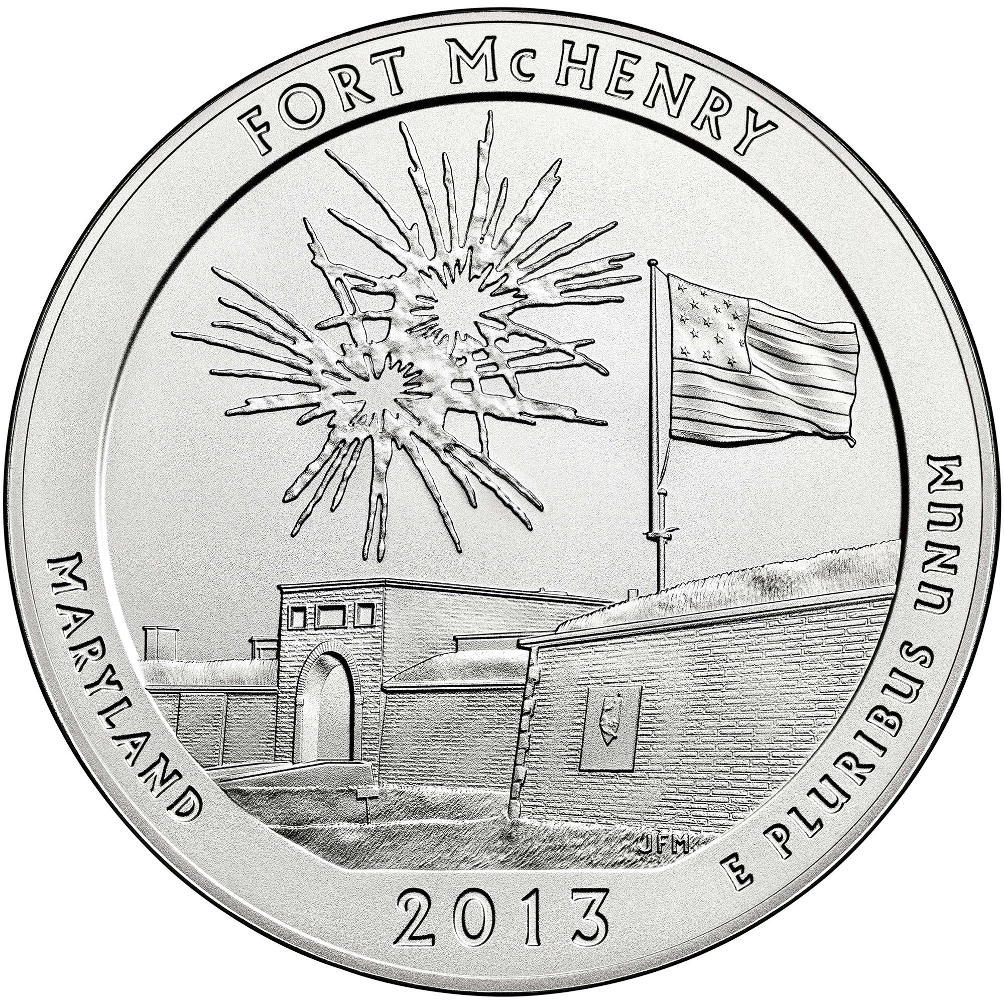 2013 America The Beautiful Quarters Five Ounce Silver Uncirculated Coin Fort Mchenry Maryland Reverse