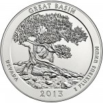 2013 America The Beautiful Quarters Five Ounce Silver Uncirculated Coin Great Basin Nevada Reverse