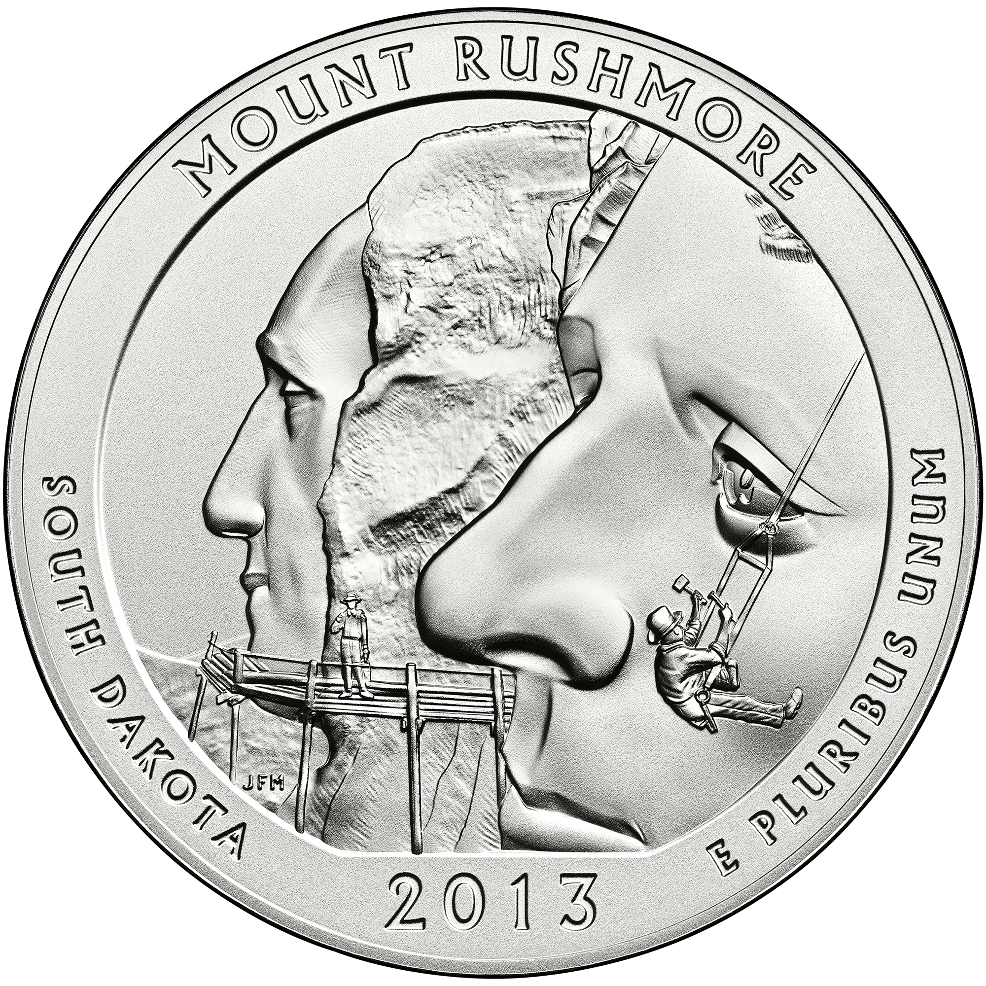2013 America The Beautiful Quarters Five Ounce Silver Uncirculated Coin Mount Rushmore South Dakota Reverse