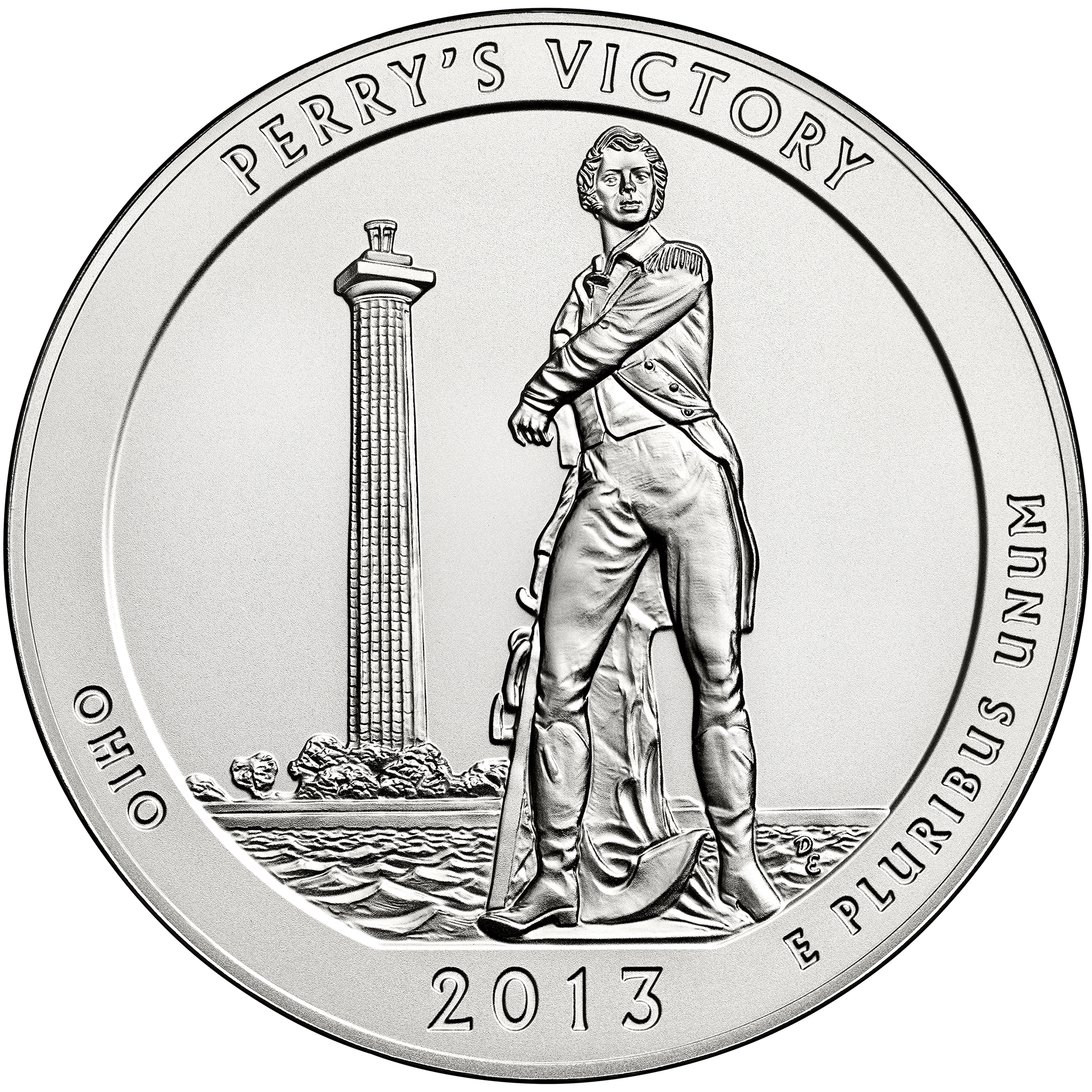 2013 America The Beautiful Quarters Five Ounce Silver Uncirculated Coin Perrys Victory Ohio Reverse