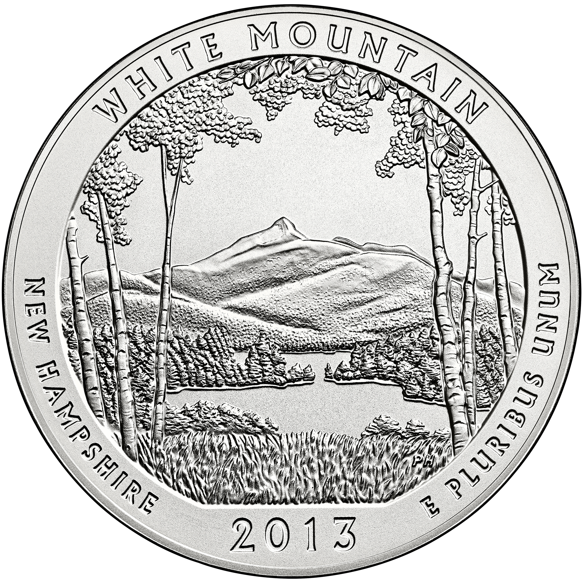 2013 America The Beautiful Quarters Five Ounce Silver Uncirculated Coin White Mountain New Hampshire Reverse