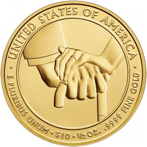 2013 First Spouse Gold Coin Edith Wilson Uncirculated Reverse