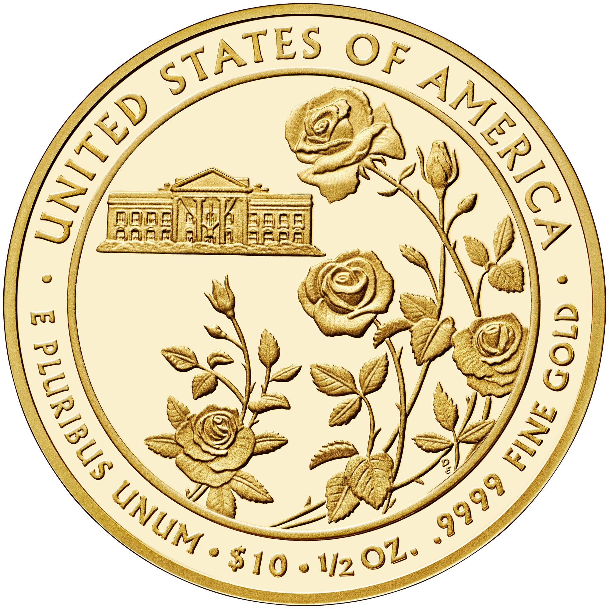 2013 First Spouse Gold Coin Ellen Wilson Proof Reverse