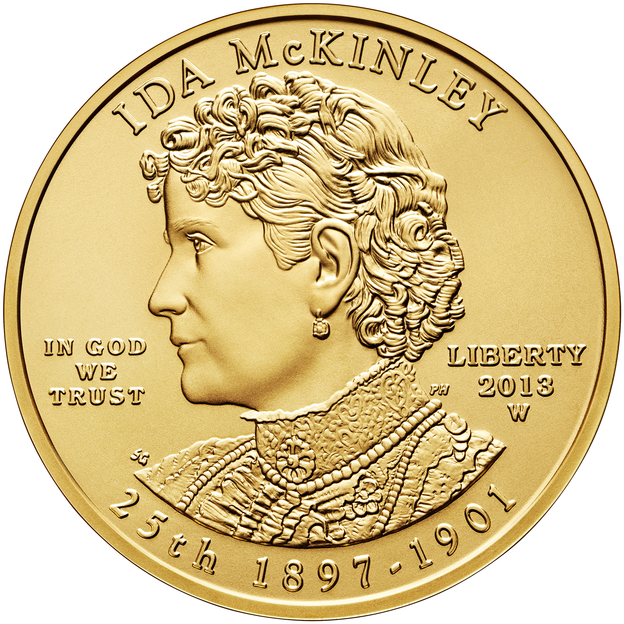 2013 First Spouse Gold Coin Ida Mckinley Uncirculated Obverse