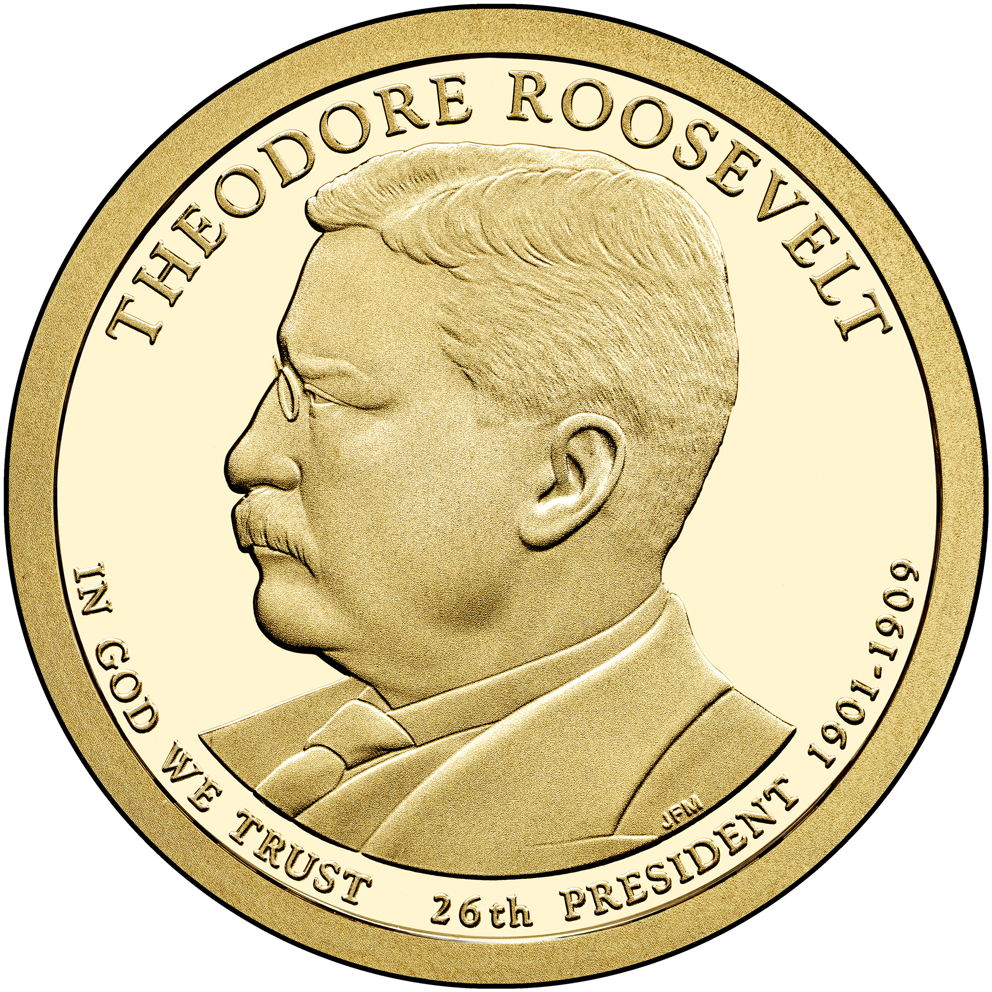 2013 Presidential Dollar Coin Theodore Roosevelt Proof Obverse