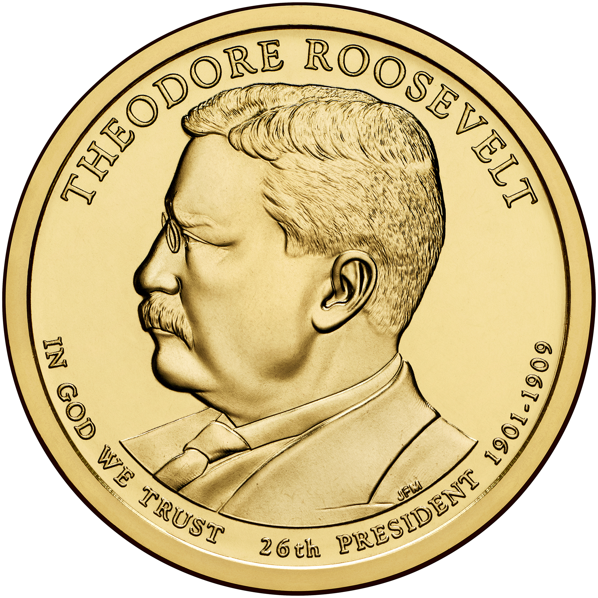 2013 Presidential Dollar Coin Theodore Roosevelt Uncirculated Obverse