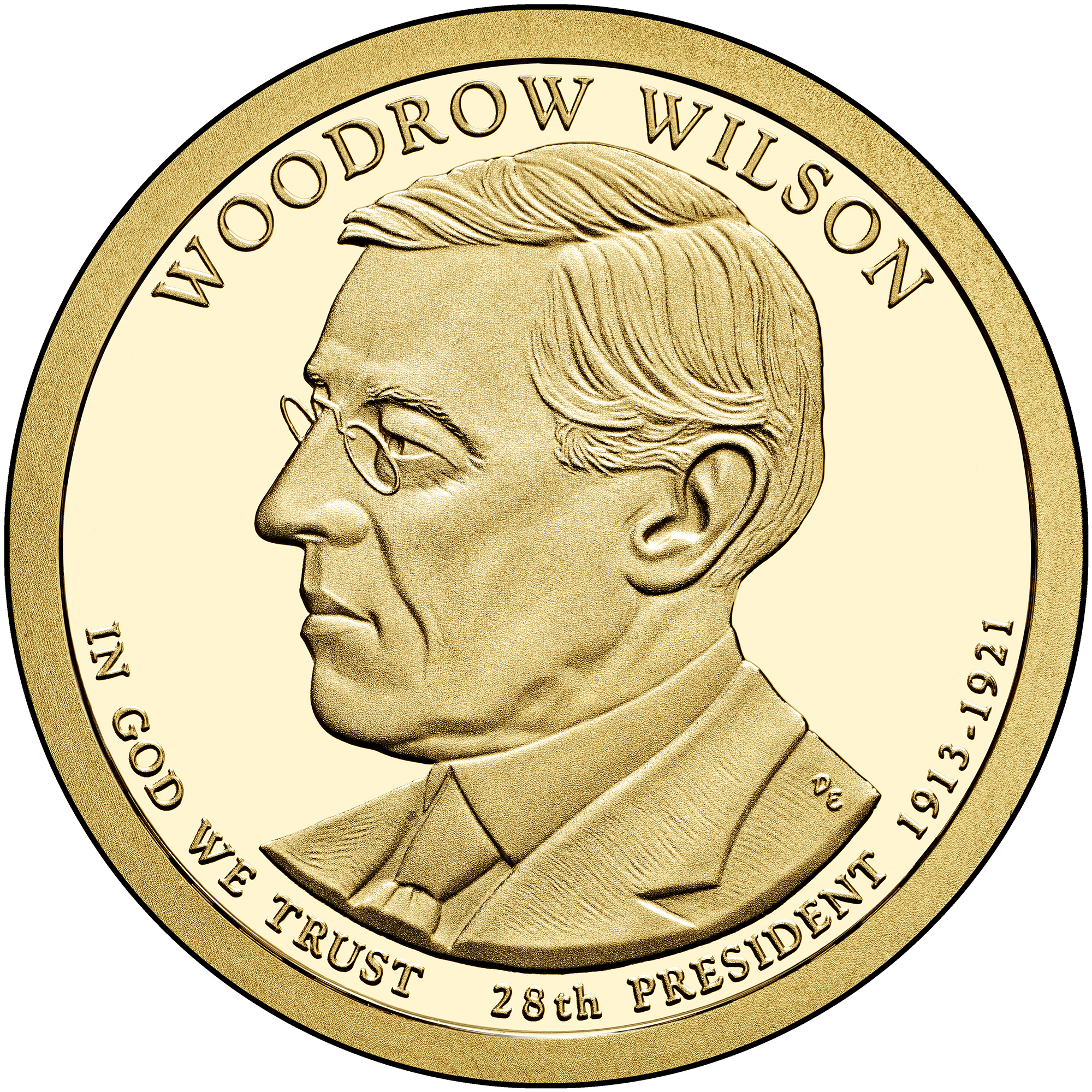 2013 Presidential Dollar Coin Woodrow Wilson Proof Obverse