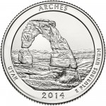 2014 America The Beautiful Quarters Coin Arches Utah Uncirculated Reverse