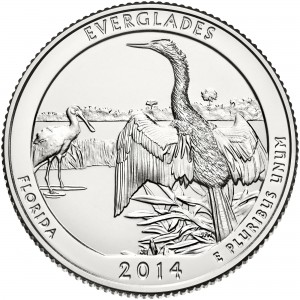 2014 America The Beautiful Quarters Coin Everglades Florida Uncirculated Reverse