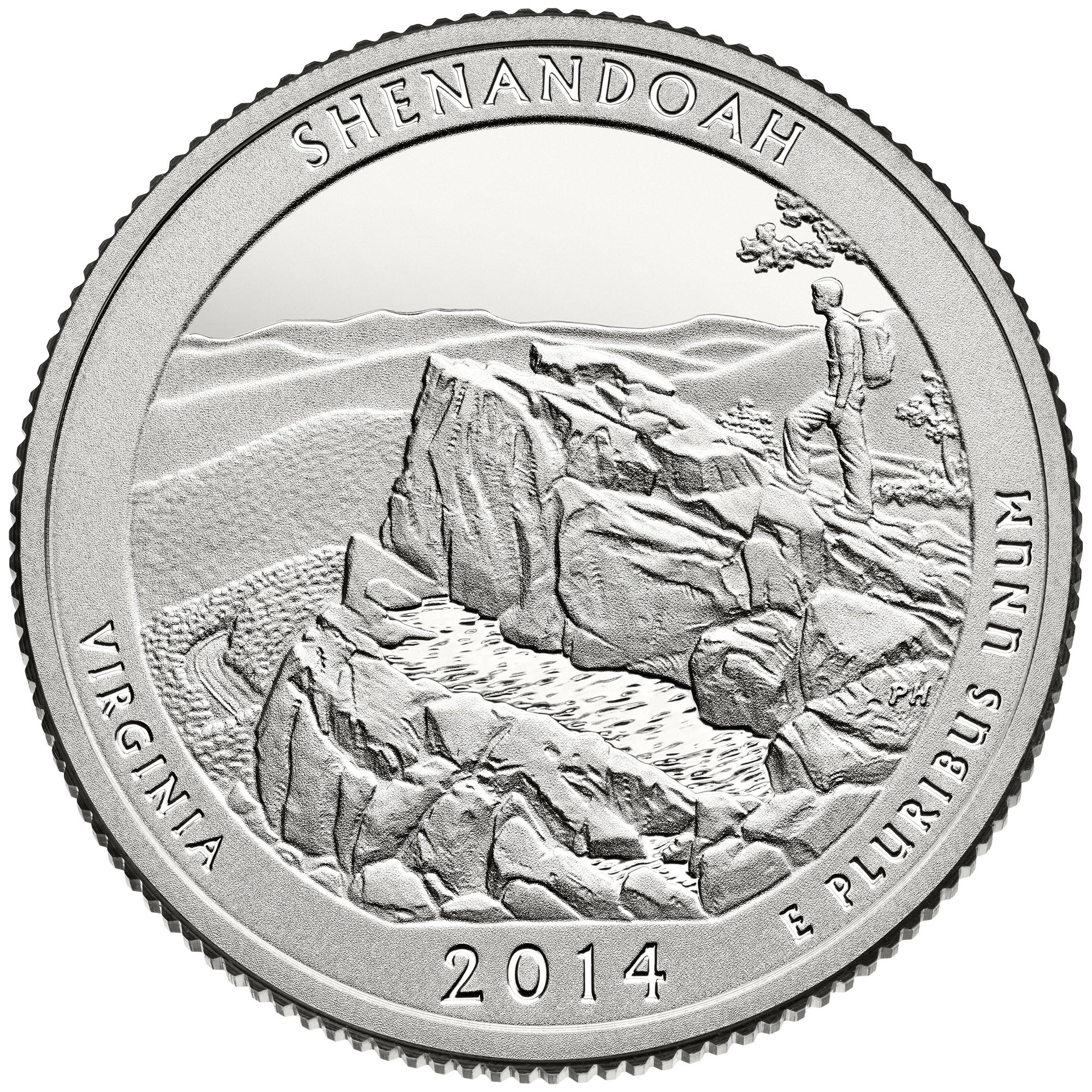2014 America The Beautiful Quarters Coin Shenandoah Virginia Proof Reverse