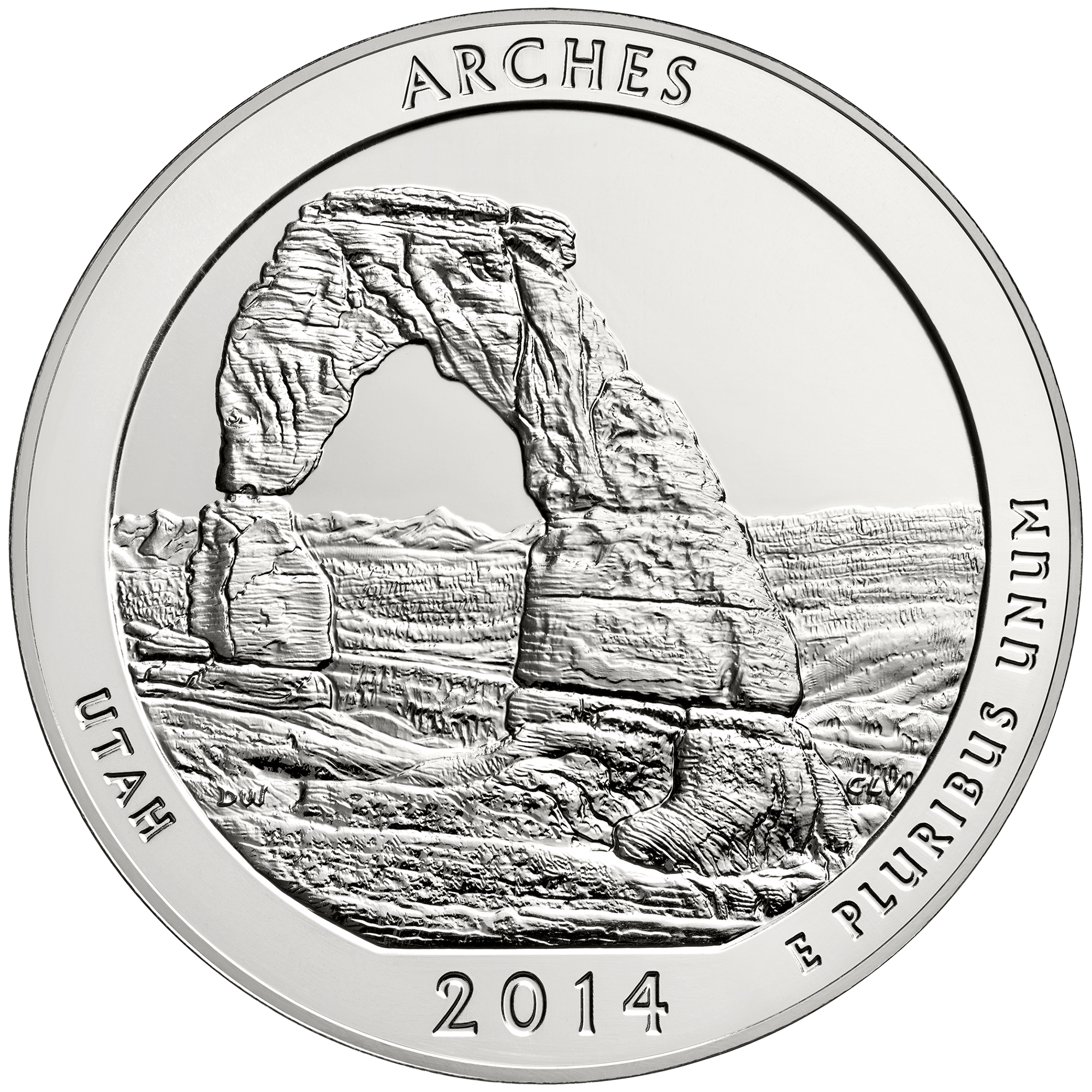 2014 America The Beautiful Quarters Five Ounce Silver Bullion Coin Arches Utah Reverse