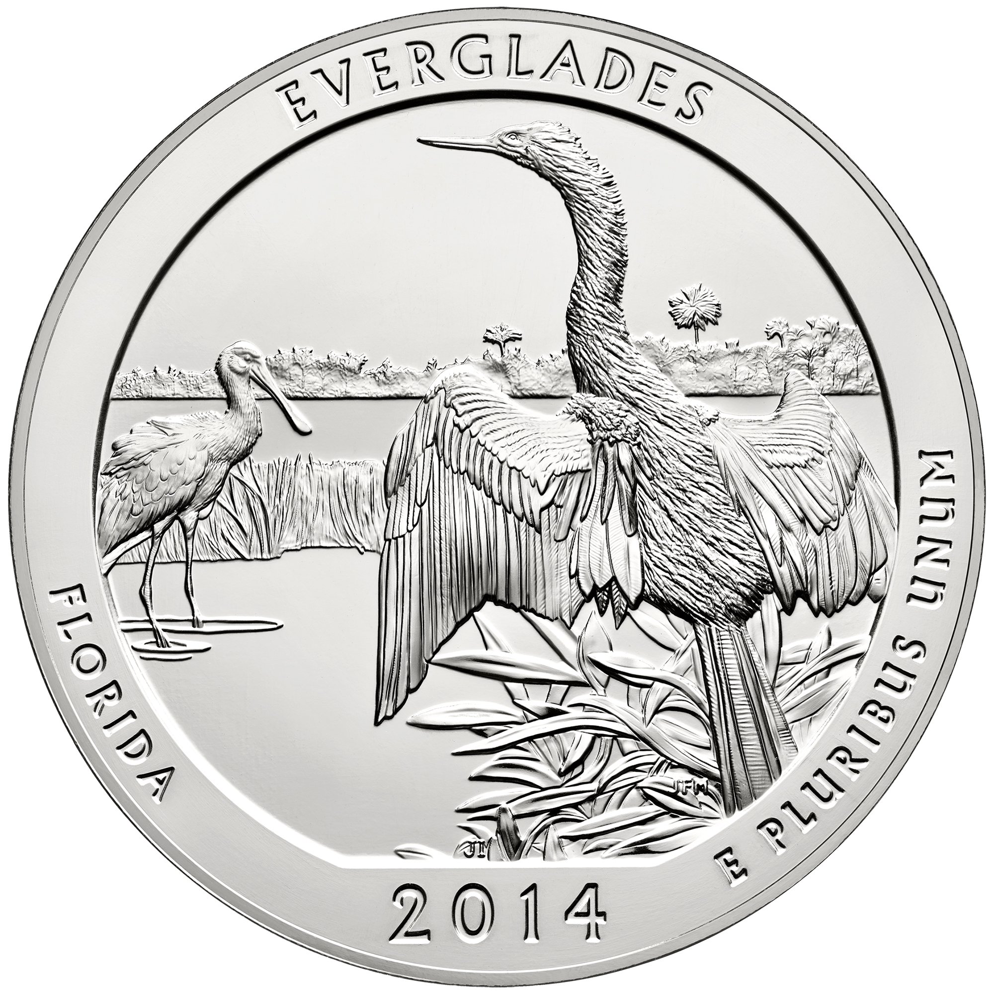 2014 America The Beautiful Quarters Five Ounce Silver Bullion Coin Everglades Florida Reverse