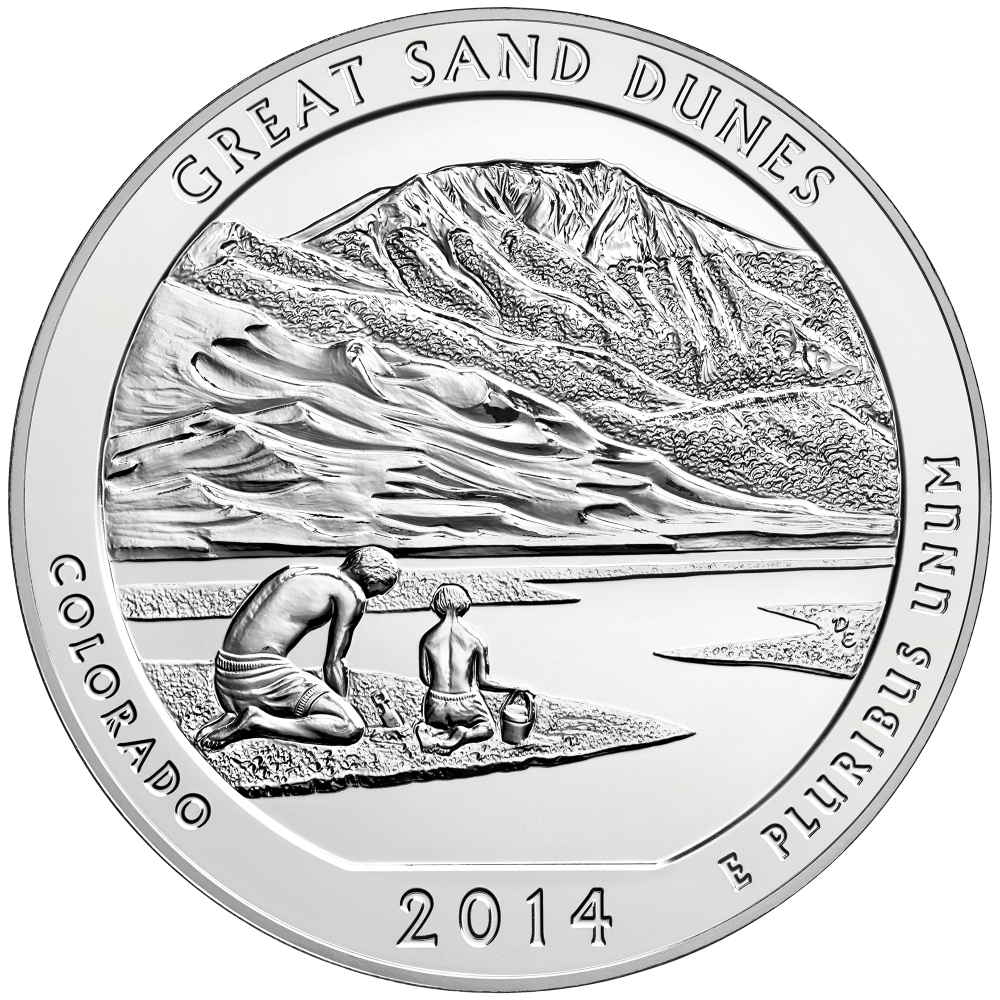 2014 America The Beautiful Quarters Five Ounce Silver Bullion Coin Great Sand Dunes Colorado Reverse