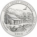 2014 America The Beautiful Quarters Five Ounce Silver Bullion Coin Great Smoky Mountains Tennessee Reverse