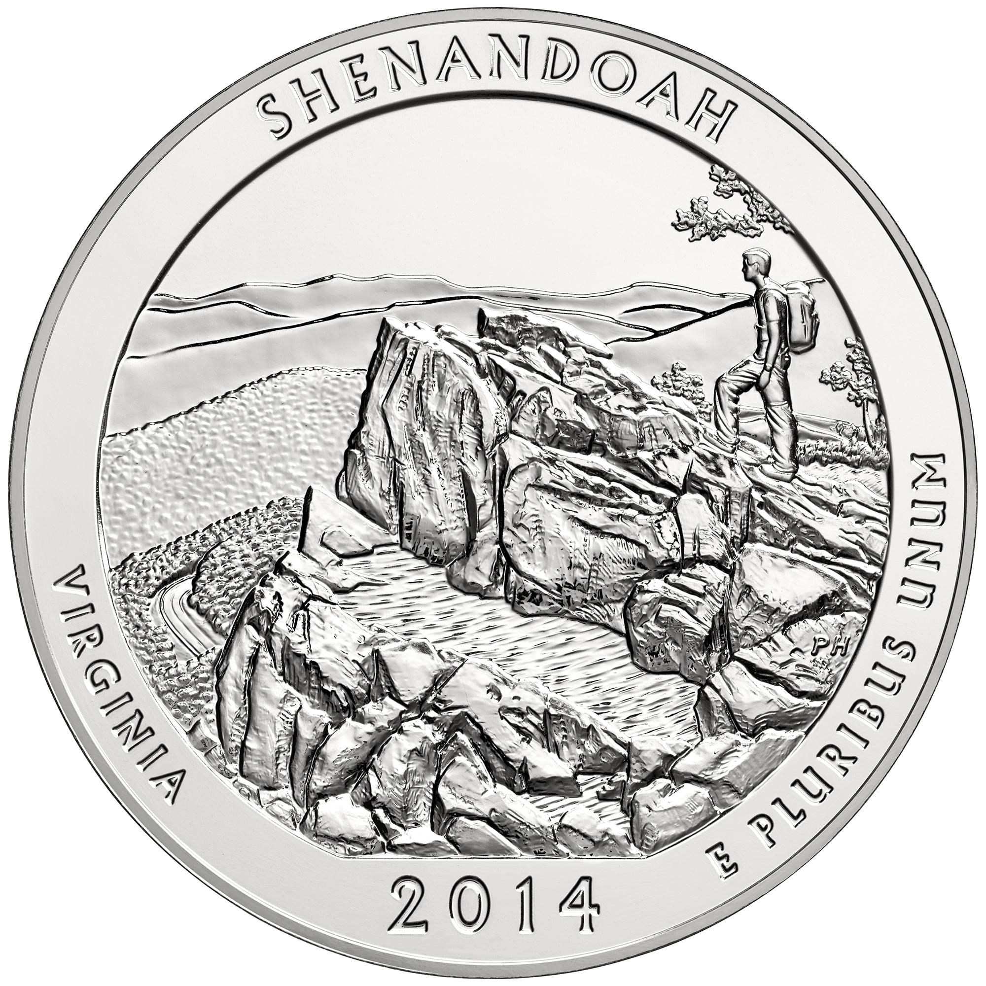 2014 America The Beautiful Quarters Five Ounce Silver Bullion Coin Shenandoah Virginia Reverse
